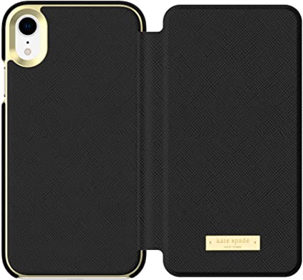 Kate Spade New York Black Folio Case For iPhone XR is made from Saffiano leather.