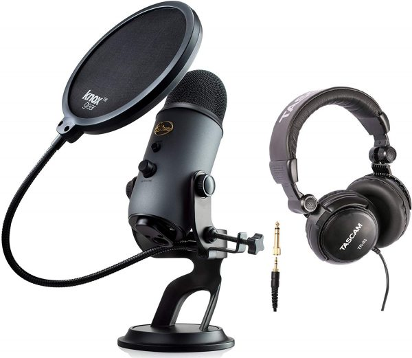 Blue Microphones Yeti Slate USB Microphone Bundle with Studio Headphones and Knox Pop Filter