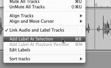Add a label to a track in Audacity menu