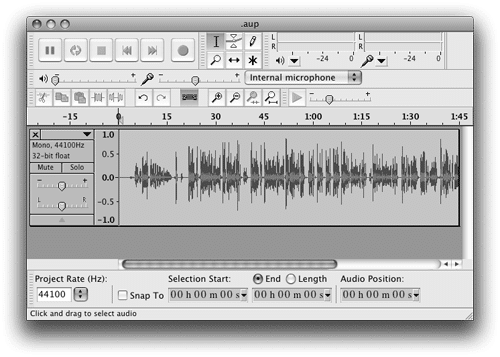 Track imported in Audacity