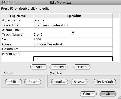 Adding metadata id3 to Audacity export