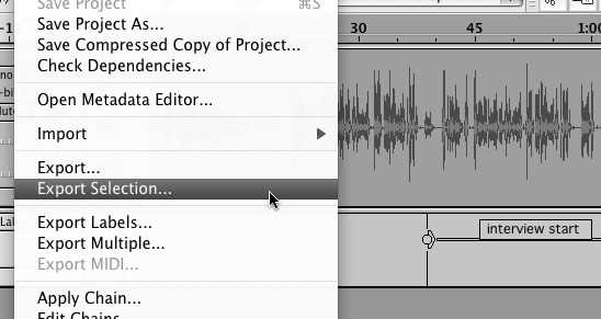 Exporting audio from Audacity