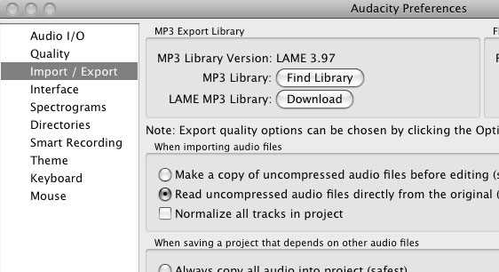 Preferences in Audacity for LAME install
