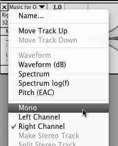 Specifying the channel the track should go on