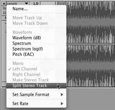 Splitting a stereo track into two tracks